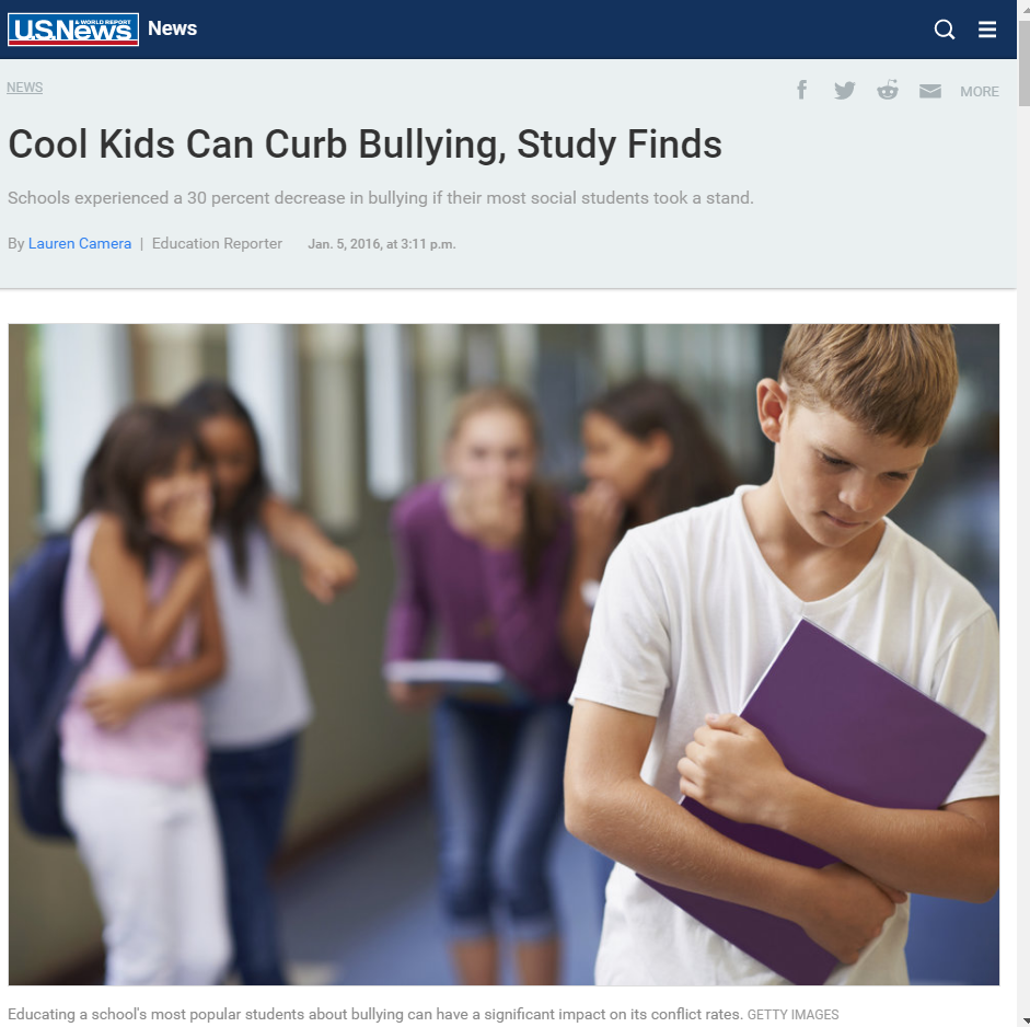 Cool Kids Can Curb Bullying, Study Finds